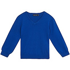 Debenhams - Children's royal blue V-neck school jumper