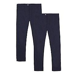 Debenhams - Pack of two girls' navy slim fit school trousers