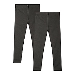 Debenhams - Pack of two girls' grey slim fit school trousers