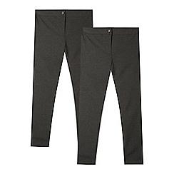 Debenhams - Pack of two girls' grey slim fit school trousers