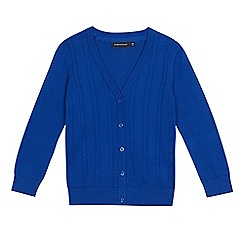 Debenhams - Girls' blue cable knit school cardigan