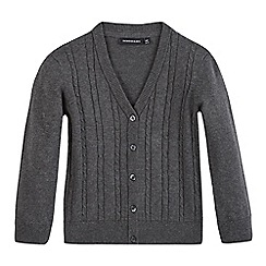 Debenhams - Girls' grey cable knit cardigan