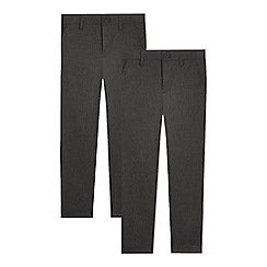 Debenhams - Pack of two boys' grey slim fit trousers