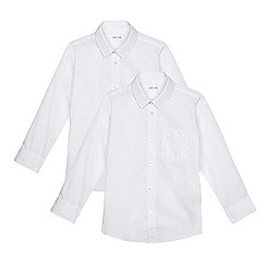 Debenhams - Boys' pack of two long sleeved slim fit school shirts
