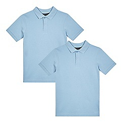Debenhams - Pack of two boys' blue school polo shirts