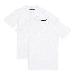 Debenhams - Pack of two boys' white school polo shirts