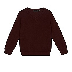 Debenhams - Children's dark red V-neck school jumper