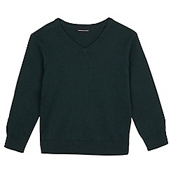 Debenhams - Children's dark green V neck jumper