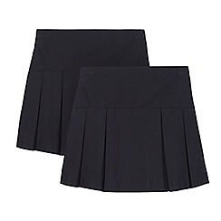 Debenhams - Pack of two girls' navy kilt school skirts