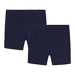 Debenhams - Pack of two children's navy school cycling shorts