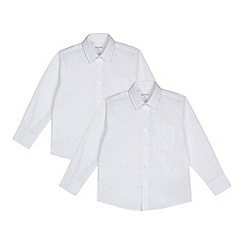 Debenhams - Pack of two boys' white generous fit long sleeved shirts