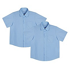 Debenhams - Pack of two boys' blue generous fit short sleeved school shirts