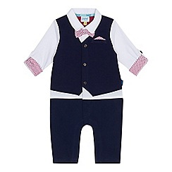 Baker by Ted Baker - Baby boys' navy smart mock romper suit