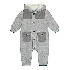Baker by Ted Baker - Baby boys' grey herringbone quilted snugglesuit
