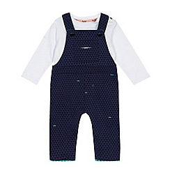Baker by Ted Baker - Baby boys' navy textured triangle dungarees and white top set