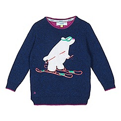 Baker by Ted Baker - Boys' navy embroidered skiing polar bear jumper