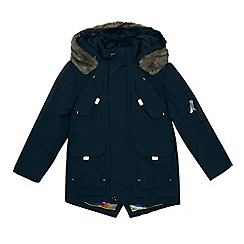 Baker by Ted Baker - Boys' navy faux fur showerproof parka