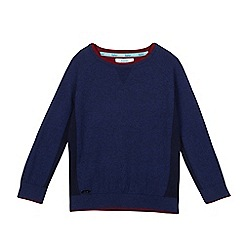 Baker by Ted Baker - Boys' navy ribbed side panel jumper with Merino wool