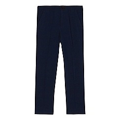 Baker by Ted Baker - Boys' navy stain resistant textured checked trousers
