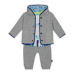 Baker by Ted Baker - 'Baby boys' white elephant t-shirt, grey jacket and jogging bottoms set