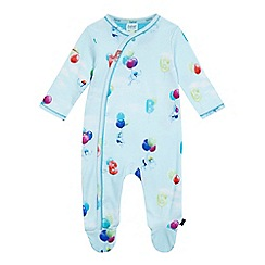 Baker by Ted Baker - Baby boys' light blue elephant balloon print sleepsuit