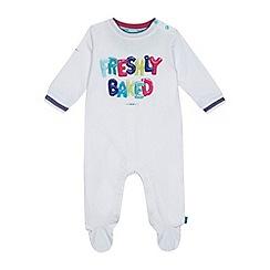 Baker by Ted Baker - Babies' white 'Freshly Baked' print sleepsuit