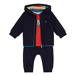 Baker by Ted Baker - Baby boys' navy logo print t-shirt, hooded jacket and jogging bottoms set