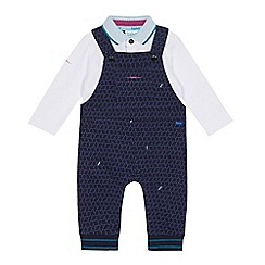 Baker by Ted Baker - Baby boys' navy geometric print dungarees and white polo shirt set