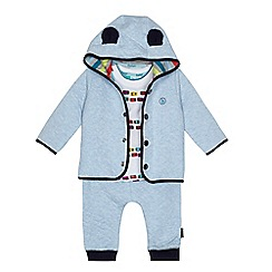 Baker by Ted Baker - Baby boys' light blue car print t-shirt, sweater and jogging bottoms set
