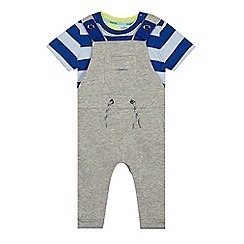 Baker by Ted Baker - Baby boys' grey striped dungarees and t-shirt set