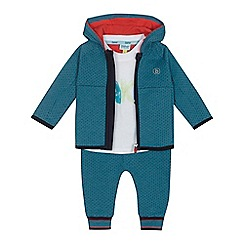 Baker by Ted Baker - 'Baby boys' white logo print t-shirt, green hooded jacket and jogging bottoms set