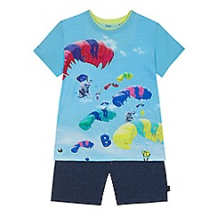 Baker by Ted Baker - 'Baby boys' blue elephant balloon print t-shirt and textured shorts set