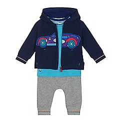 Baker by Ted Baker - 'Baby boys' blue car print t-shirt, hoodie and jogging bottoms set