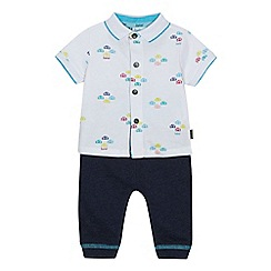 Baker by Ted Baker - Baby boys' white car print shirt and blue jogging bottoms set