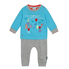 Baker by Ted Baker - Baby boys' blue mobile logo print top and grey jogging bottoms set