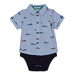 Baker by Ted Baker - Baby boys' blue racing shirt print mock bodysuit