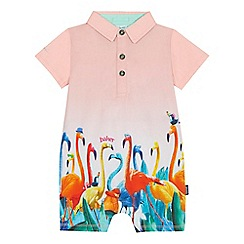 Baker by Ted Baker - 'Baby girls' orange flamingo print romper suit