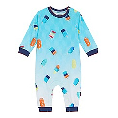 Baker by Ted Baker - 'Baby boys' blue ice lolly print long sleeve sleepsuit