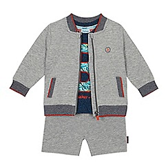 Baker by Ted Baker - 'Baby boys' navy logo applique t-shirt, grey bomber jacket and shorts set
