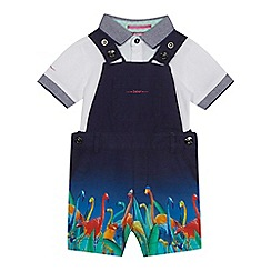 Baker by Ted Baker - 'Baby boys' navy flamingo print dungarees and white polo shirt set