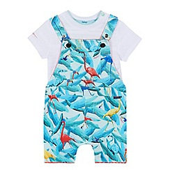 Baker by Ted Baker - 'Baby boys' white t-shirt and multi-coloured flamingo print dungarees set
