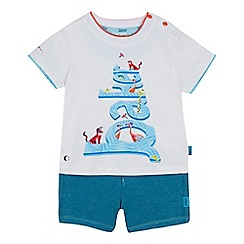 Baker by Ted Baker - 'Baby boys' white logo t-shirt and green shorts set