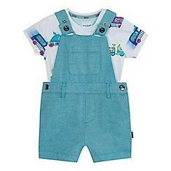Baker by Ted Baker - Baby boys' multi-coloured vehicle print top and dungarees set