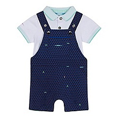 Baker by Ted Baker - Baby boys' white polo shirt and navy triangle print dungarees set