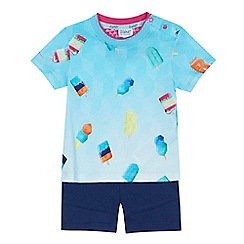 Baker by Ted Baker - 'Boys' blue ice lolly print t-shirt and navy shorts set
