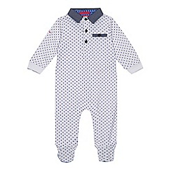 Baker by Ted Baker - 'Baby boys' white geometric print long sleeve sleepsuit