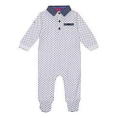 Baker by Ted Baker - 'Baby boys' white geometric print long sleeve sleepsuit