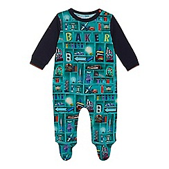 Baker by Ted Baker - 'Baby boys' green bookshelf print sleepsuit