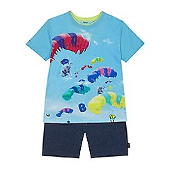 Baker by Ted Baker - 'Boys' blue elephant balloon print t-shirt and textured shorts set