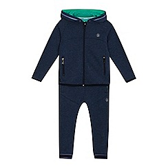 Baker by Ted Baker - Boys' navy textured zip through hoodie and jogging bottoms set